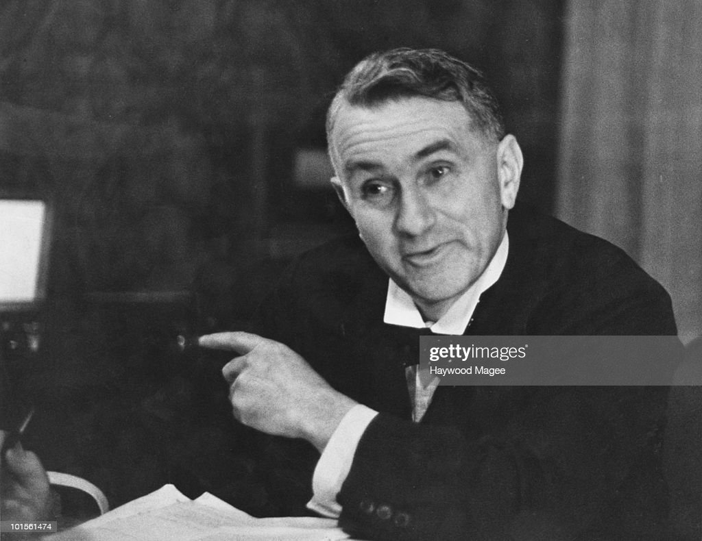Scottish Labour politician Thomas Johnston (1882 - 1965), the Secretary of State for Scotland, 13th March 1943. He is discussing his Hydro-electrification Bill, which proposes the use of Scotland's large water supply to provide electric power for the scattered local population, encouraging industry into the area and combatting unemployment. Original Publication : Picture Post - 1369 - A Power Scheme For The Highlands - pub. 13th March 1943