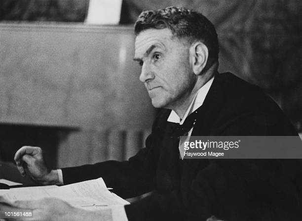 Scottish Labour politician Thomas Johnston the Secretary of State for Scotland 13th March 1943 He is discussing his Hydroelectrification Bill which...