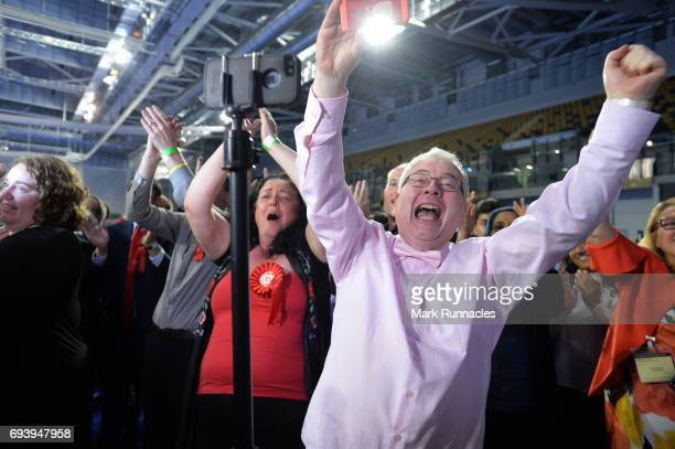 Scottish Labour supporters celebrate as they win back a seat in Glasgow during the UK Parliamentary Elections at the Emirates Arena on June 9 2017 in...