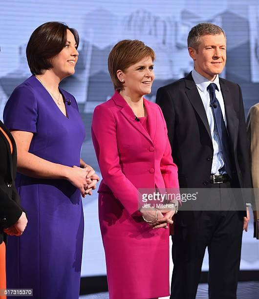 Scottish Labour's Kezia Dugdale SNP leader Nicola Sturgeon and Lib Dem Willie Rennie attend the BBC Scotland Holyrood Election debate on March 24...