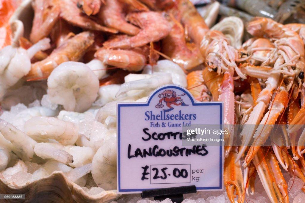 Schottische Scampi in Borough Market, London : Stock-Foto