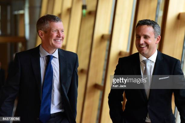 Scottish Liberal Democrat leader Willie Rennie and Lib Dem MSP Alex ColeHamilton on their way to the first session of First Minister's Questions in...