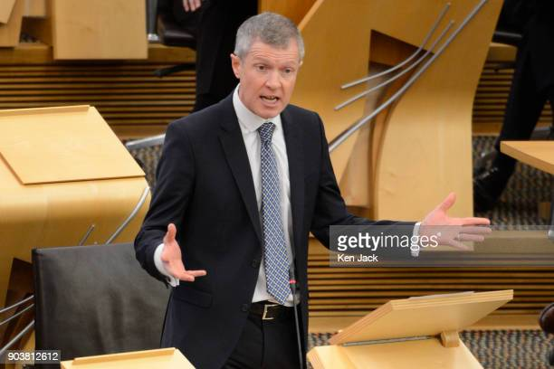 Scottish Liberal Democrat leader Willie Rennie at First Minister's Questions in the Scottish Parliament on January 11 2018 in Edinburgh Scotland