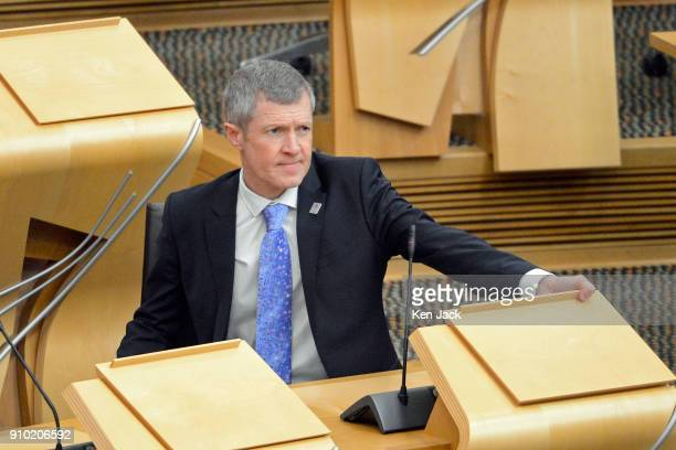 Scottish Liberal Democrat leader Willie Rennie at First Minister's Questions in the Scottish Parliament on January 25 2018 in Edinburgh Scotland