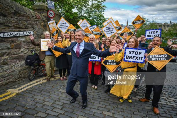 Scottish Liberal Democrat Leader Willie Rennie attends a rally with activists and campaigners on May 22 2019 in EdinburghScotland The Lib Dem leader...