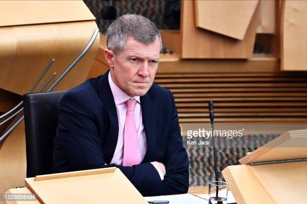 Scottish Liberal Democrat leader Willie Rennie during First Minister's Questions in the Scottish Parliament, on February 27, 2020 in Edinburgh,...