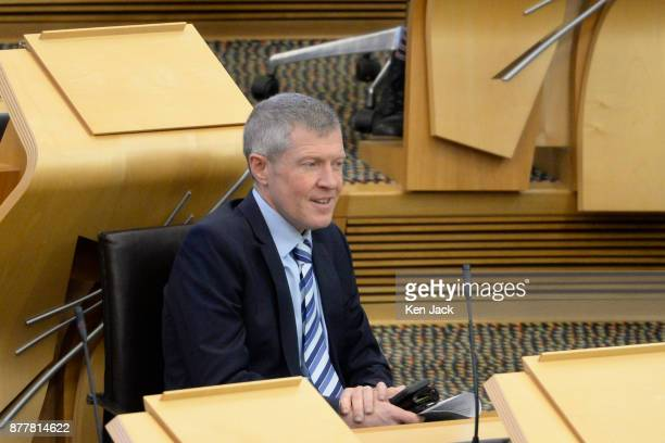 Scottish Liberal Democrat leader Willie Rennie during First Minister's Questions in the Scottish Parliament on November 23 2017 in Edinburgh Scotland