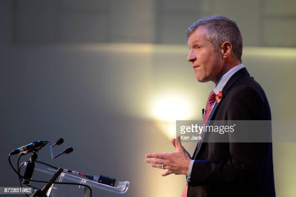 Scottish Liberal Democrat leader Willie Rennie gives his keynote address to the Scottish Liberal Democrats' autumn conference on November 11 2017 in...