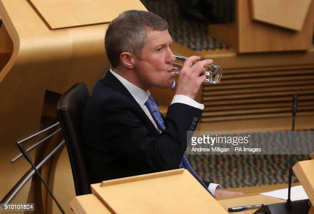 Scottish Liberal Democrat leader Willie Rennie in the debating chamber during FMQs at the Scottish Parliament in Edinburgh