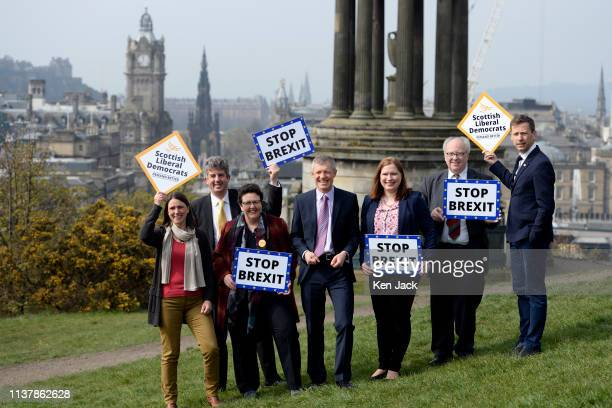 Scottish Liberal Democrat leader Willie Rennie introduces his party's candidates for the European elections on Calton Hill on April 18 2019 in...