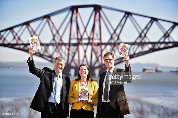 Scottish Liberal Democrat leader Willie Rennie Jo Swinson and candidate Mike Crockart launch the Scottish Liberal Democrat manifesto on April 21 2015...
