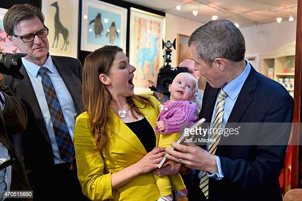 Scottish Liberal Democrat leader Willie Rennie Jo Swinson and candidate Mike Crockart meet five month old Martha Milne as they launch the Scottish...
