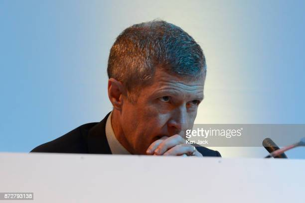Scottish Liberal Democrat leader Willie Rennie on the platform during the Scottish Liberal Democrats' autumn conference on November 11 2017 in...