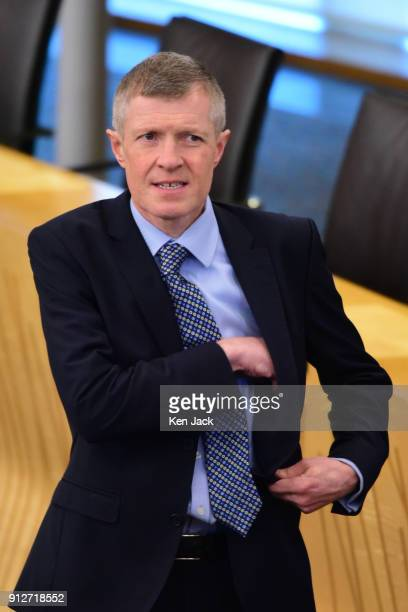 Scottish Liberal Democrat leader Willie Rennie on the way into the chamber for the budget debate in the Scottish Parliament on January 31 2018 in...