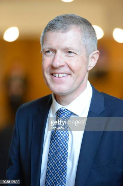Scottish Liberal Democrat leader Willie Rennie on the way to First Minister's Questions in the Scottish Parliament on January 11 2018 in Edinburgh...