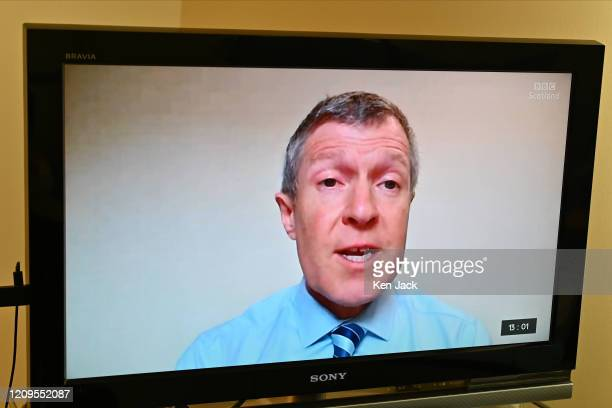"""Scottish Liberal Democrat leader Willie Rennie puts a question to First Minister Nicola Sturgeon during a """"virtual"""" session of First Minister's..."""
