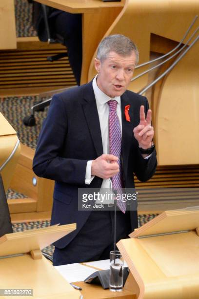 Scottish Liberal Democrat leader Willie Rennie speaking during First Minister's Questions in the Scottish Parliament on November 30 2017 in Edinburgh...