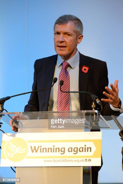 Scottish Liberal Democrat leader Willie Rennie speaking during the Scottish Liberal Democrats' autumn conference on November 11 2017 in Dunfermline...