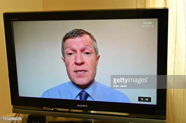 """Scottish Liberal Democrat leder Willie Rennie during a """"virtual"""" session of First Minister's Questions, where leaders of all opposition parties had..."""