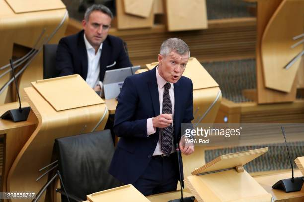 Scottish Liberal Democrats leader Willie Rennie speaks as he attends First Minister's Questions in the Scottish Parliament on September 17, 2020 in...