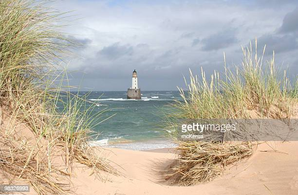 Scottish lightouse in sea on windy, stormy day