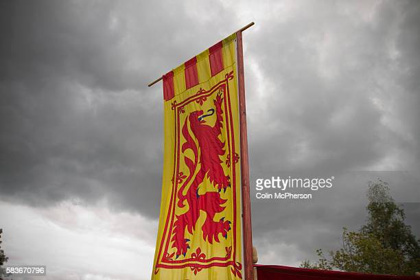 A Scottish lion rampant banner pictured during events at Bannockburn Live at Bannockburn Stirlingshire The reenactment marked the 700th anniversary...