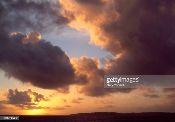 scottish loch and sky at sunset - yeowell stock photos and pictures