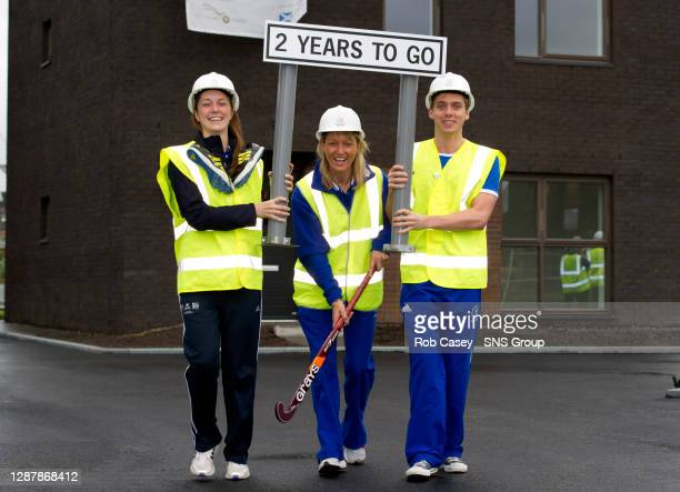 Scottish long-jumper Jade Nimmo, Former Scottish hockey player Rhona Simpson and swimmer Ross Muir are shown around the site of the Athletes' Village...