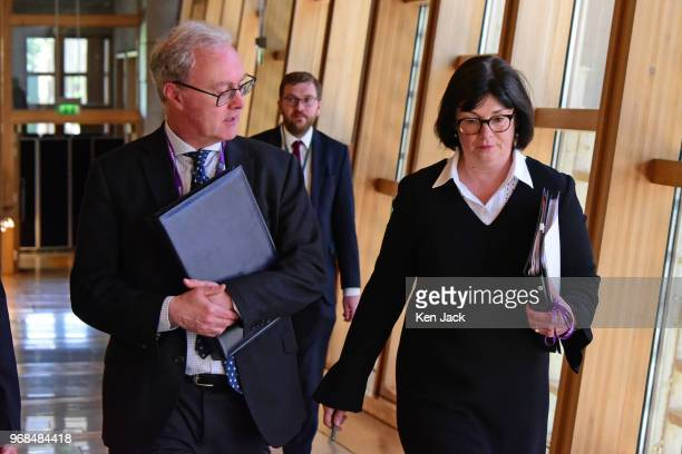 Scottish Lord Advocate James Wolffe and Solicitor General Alison Di Rollo on the way to Portfolio Questions in the Scottish Parliament on June 6 2018...