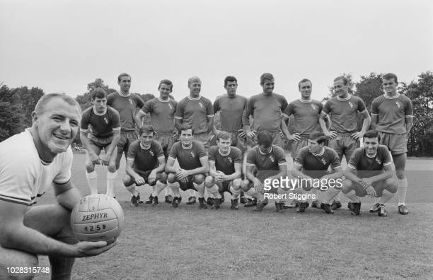 Scottish manager Tommy Docherty with Chelsea FC soccer players UK 24th July 1964