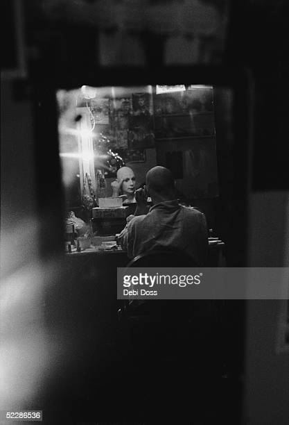 Scottish mime artist and dancer Lindsay Kemp in his dressing room during a run of the play 'Flowers' at the Bush Theatre London January 1974