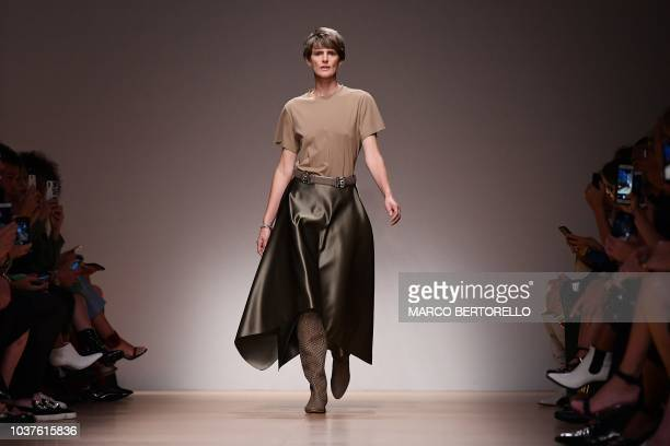 Scottish model Stella Tennant presents a creation for Salvatore Ferragamo fashion house during the Women's Spring/Summer 2019 fashion shows in Milan...