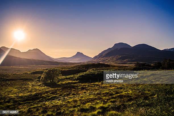Scottish Mountains and Moorland at Sunset