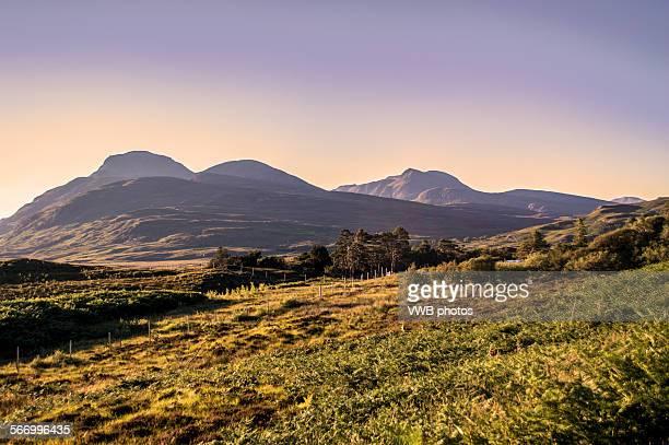Scottish mountains and moorland at zunset