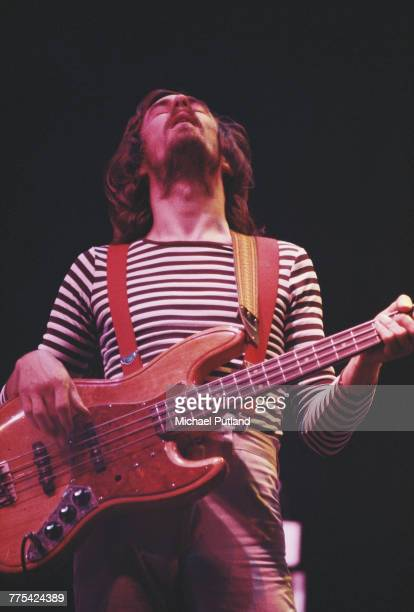 Scottish musician and bass guitarist Dougie Thomson performs live on stage with Supertramp in the United States in June 1979