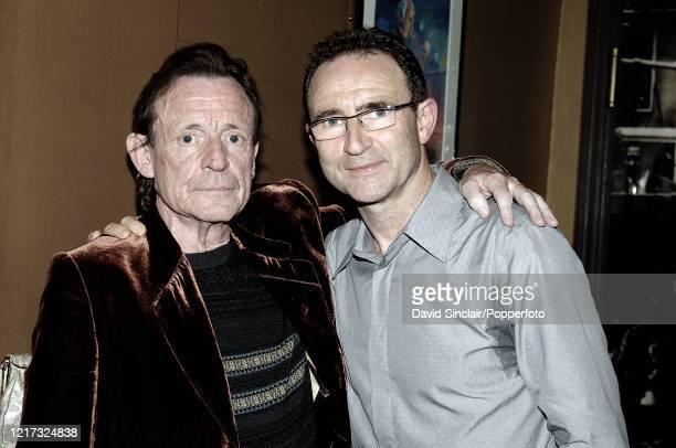 Scottish musician and bass guitarist Jack Bruce posed on left with Aston Villa manager Martin O'Neill at Ronnie Scott's Jazz Club in Soho, London on...