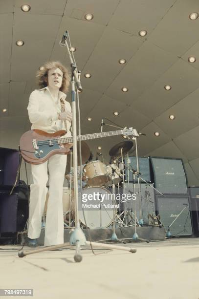 Scottish musician bass guitarist and songwriter Jack Bruce formerly of rock band Cream performing with the Jack Bruce Band at Crystal Palace Bowl...
