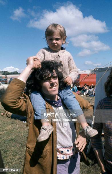Scottish musician Donovan with his son Donovan Leitch Jr during the Bath Festival of Blues and Progressive Music at the Royal Bath and West...