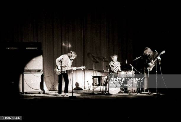 Scottish musician, singer and songwriter Jack Bruce , English drummer Ginger Baker and English guitarist, singer, and songwriter Eric Clapton,...