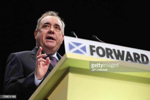 Scottish National Party Leader and Scotland's First Minister Alex Salmond addresses he 77th annual Scottish National Party conference at the Eden...