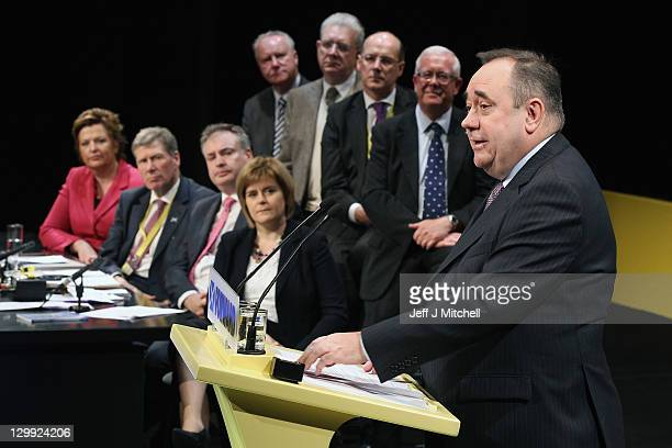 Scottish National Party Leader and Scotland's First Minister Alex Salmond addresses he 77th annual Scottish National Party conference as his party...