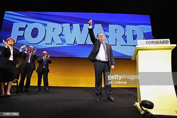 Scottish National Party Leader and Scotland's First Minister Alex Salmond receives applause following his address to the 77th annual Scottish...