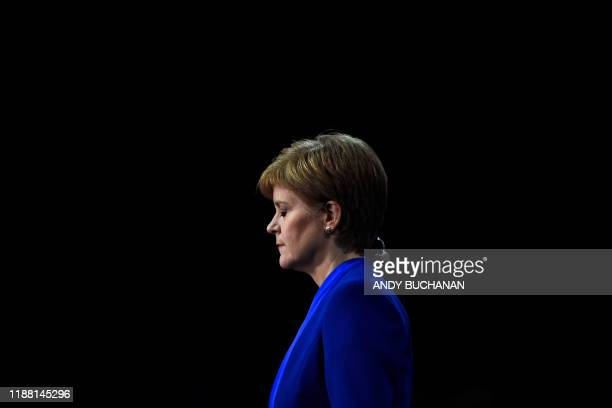 Scottish National Party leader and Scotland's First Minister Nicola Sturgeon reacts at the count centre in Glasgow on December 13, 2019 after votes...