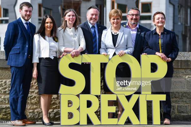 Scottish National Party leader Nicola Sturgeon, attends European Election campaign launch with the six candidates at Dynamic Earth on May 9, 2019 in...