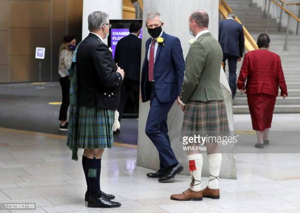Scottish National Party MSP Neil Gray and Willie Rennie, Leader of the Scottish Liberal Democrats talk in Garden Lobby during the Oath and...