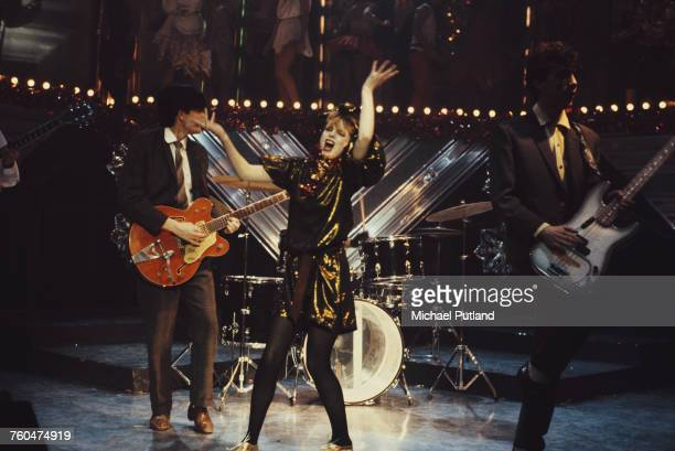 Scottish new wave group Altered Images performing 'Happy Birthday' on the Christmas Day edition of the BBC TV music show 'Top Of The Pops' which was...
