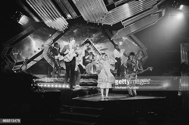 Scottish new wave group Altered Images performing 'I Could Be Happy' on the live Christmas Eve edition of the BBC TV music show 'Top Of The Pops'...