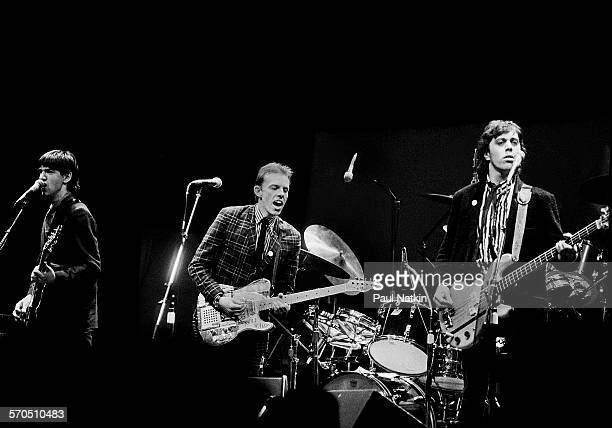Scottish New Wave group Fingerprintz performs onstage at the Park West Auditorium Chicago Illinois February 8 1980 Pictured are from left Cha Burnz...