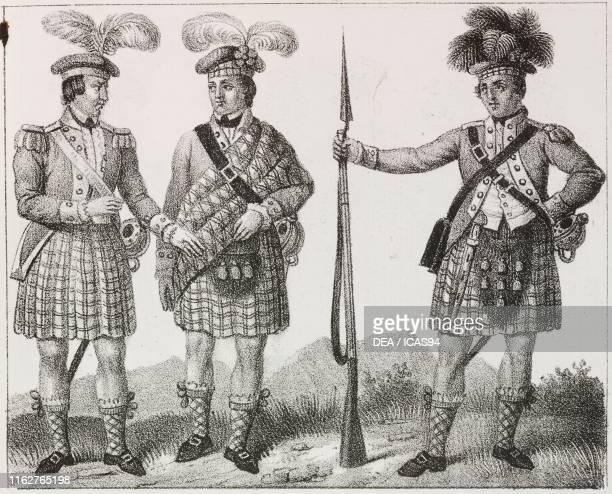 Scottish officers and soldiers United Kingdom lithograph from Galleria universale di tutti i popoli del mondo ossia storia dei costumi religioni riti...