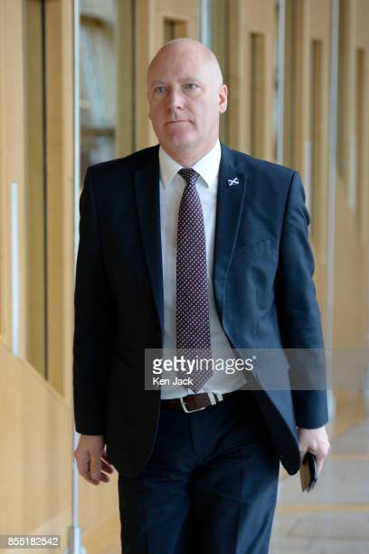 Scottish Parliamentary Business Minister Joe FitzPatrick on the way to First Minister's Questions in the Scottish Parliament on September 28 2017 in...